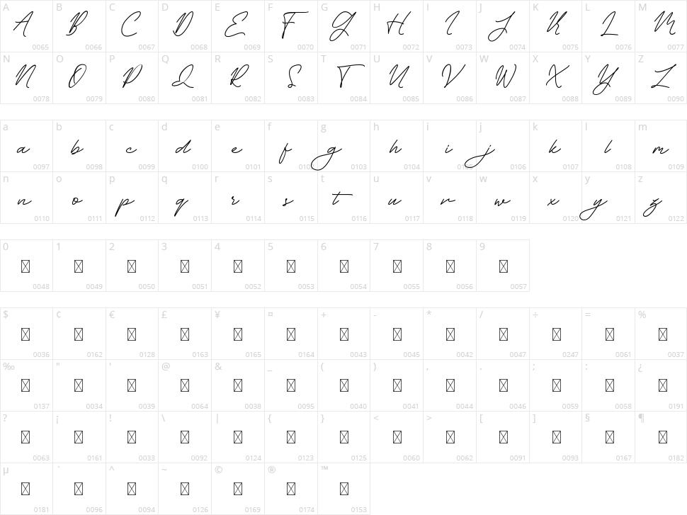 Midline Regular Character Map