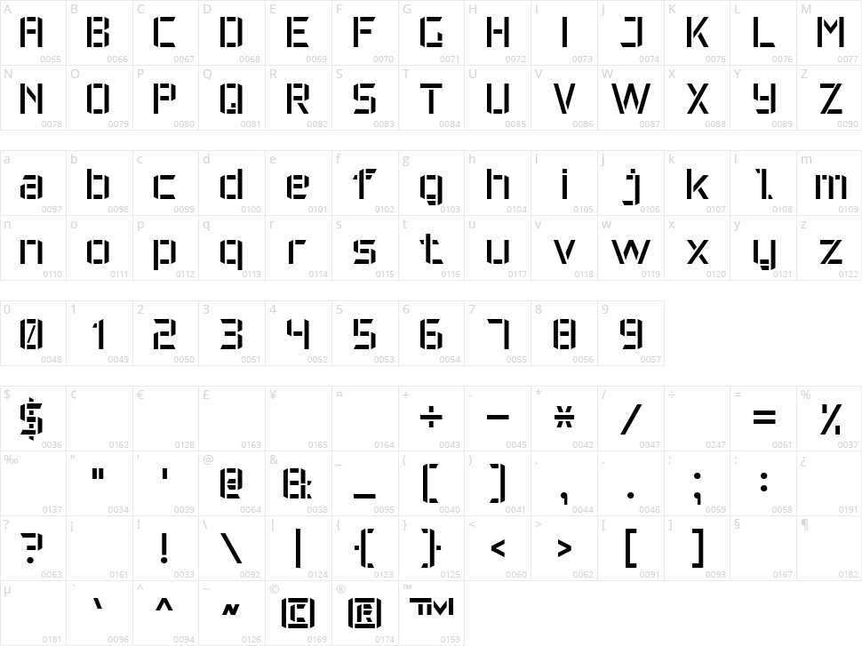 Military Font 7 Character Map