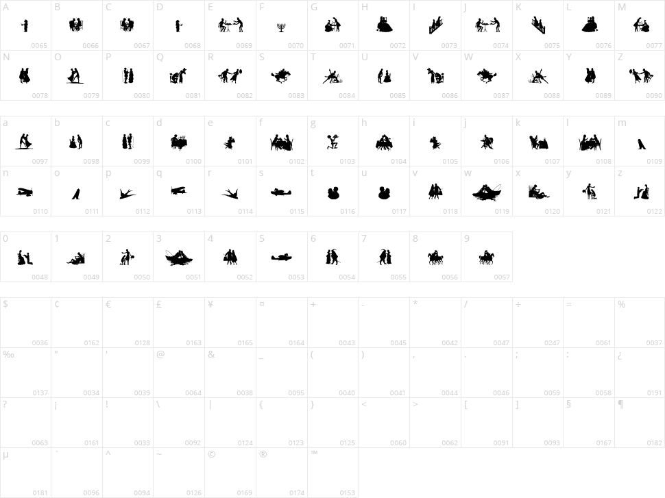 Mixed Silhouettes Free Character Map