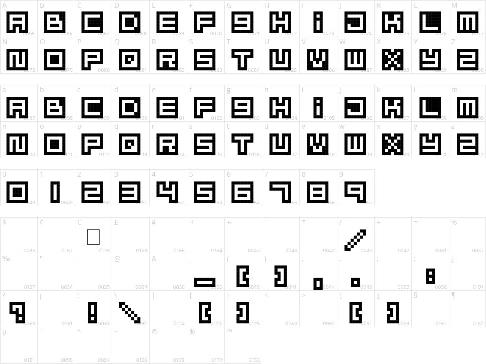 Mizu Font Alphabet Character Map