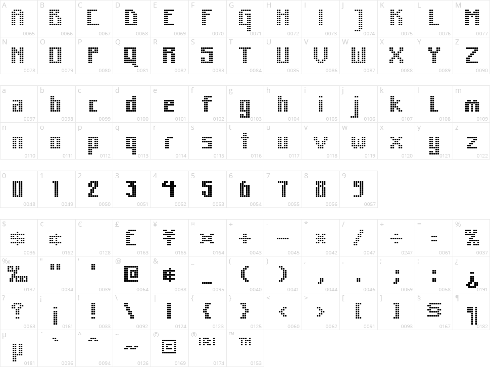 MK Zodnig Square Character Map