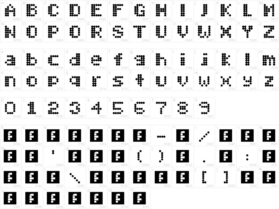 Mobitec 6x6 Character Map