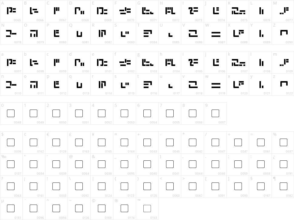Modern Iaconic Character Map