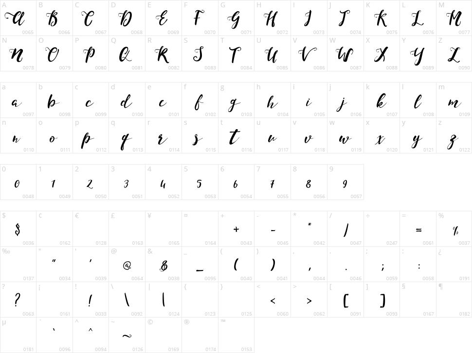 Monica Script Character Map