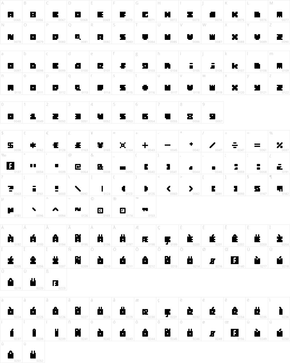 Monosquare Character Map