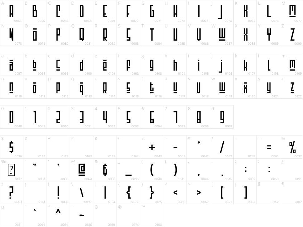 Montsera Character Map