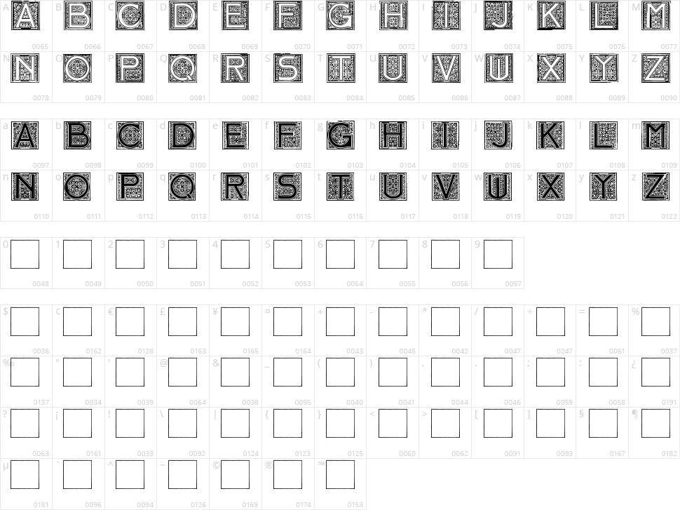 Mosaic Initials Character Map