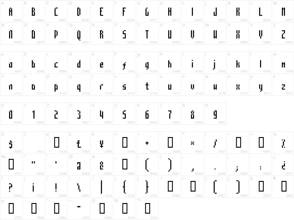 Mosaico Character Map