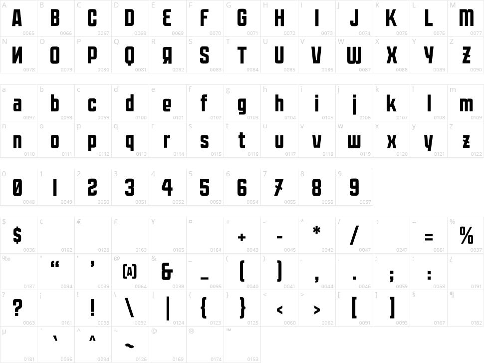 Moshka Character Map