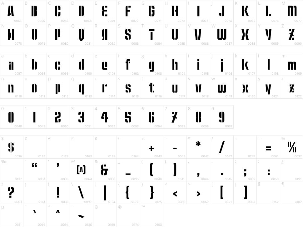 Moshka Stencil Character Map