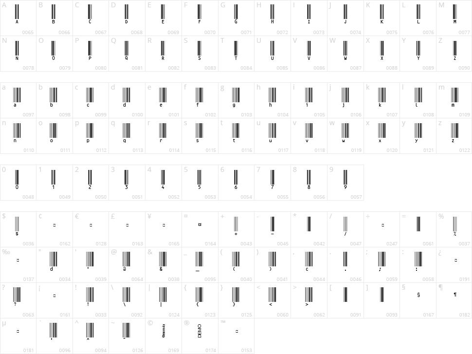 MRV Code39extMA Character Map