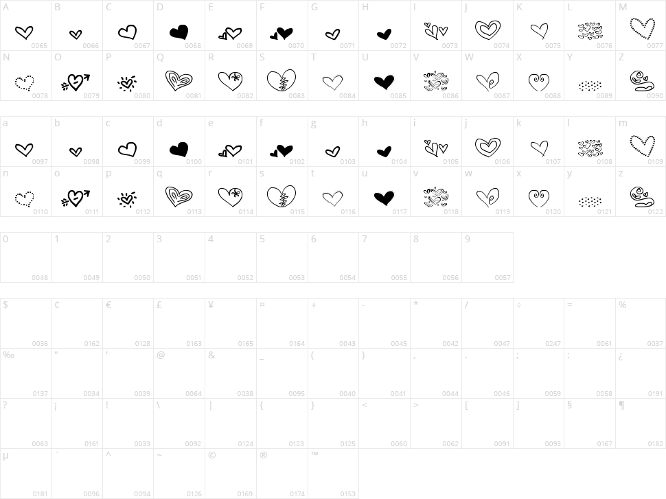 MTF Heart Doodle Character Map