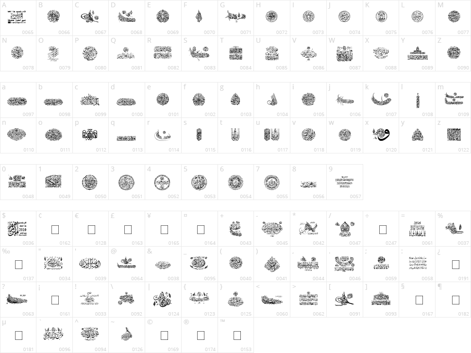 My Font Quraan 7 Character Map