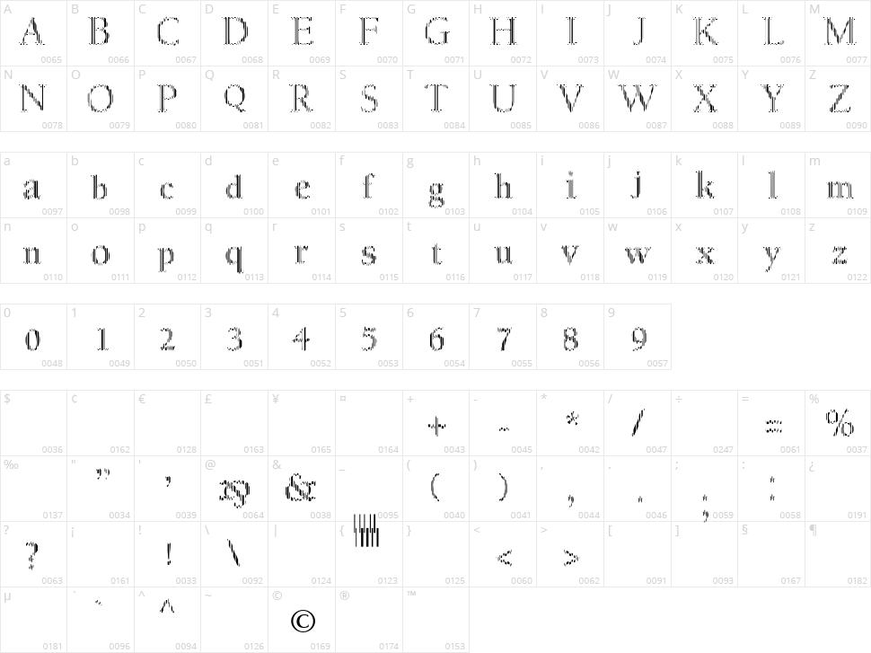 MyFontCode Character Map