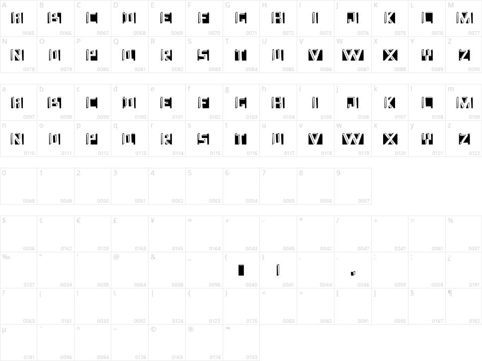 Namafont Character Map