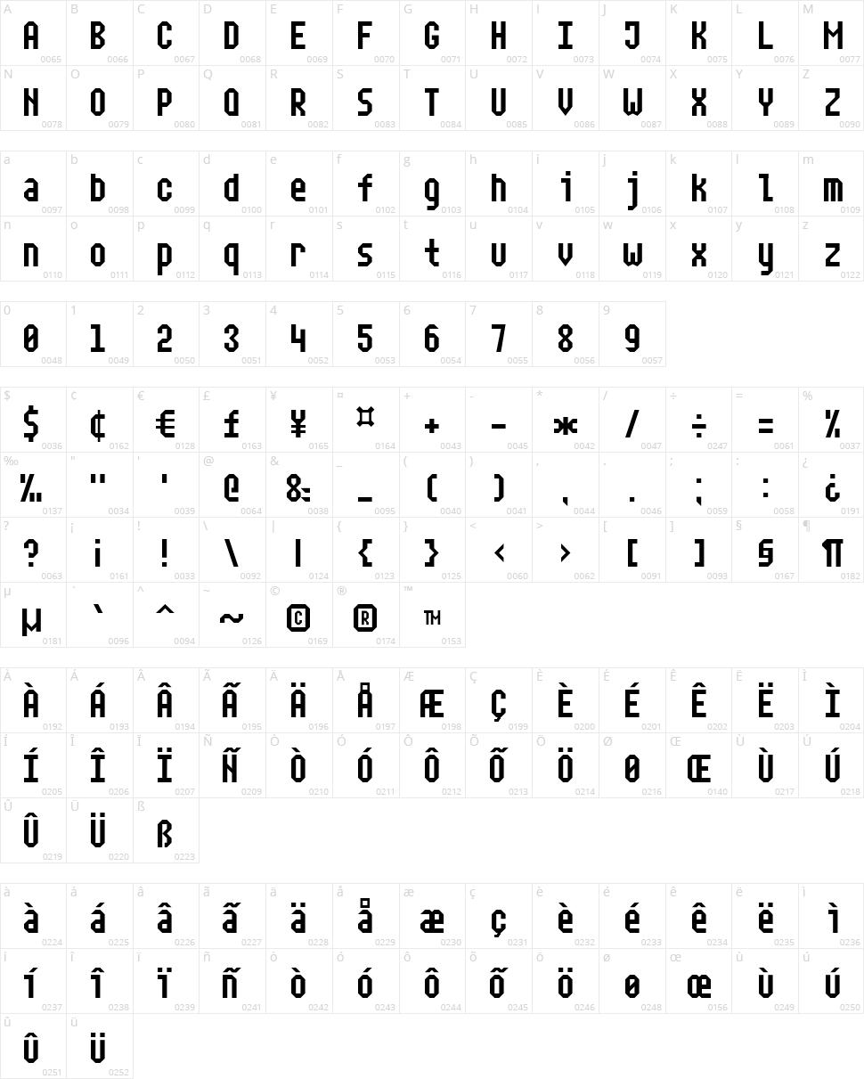 Narrow Rectangle-7 Character Map