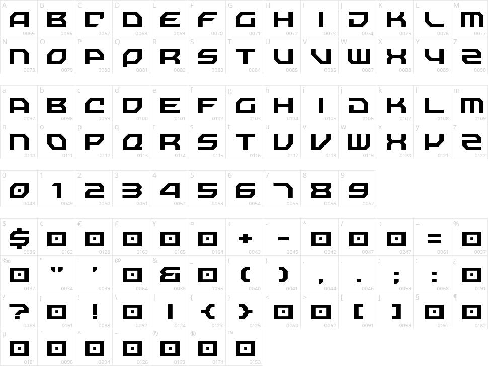 Nechao Sharp Character Map