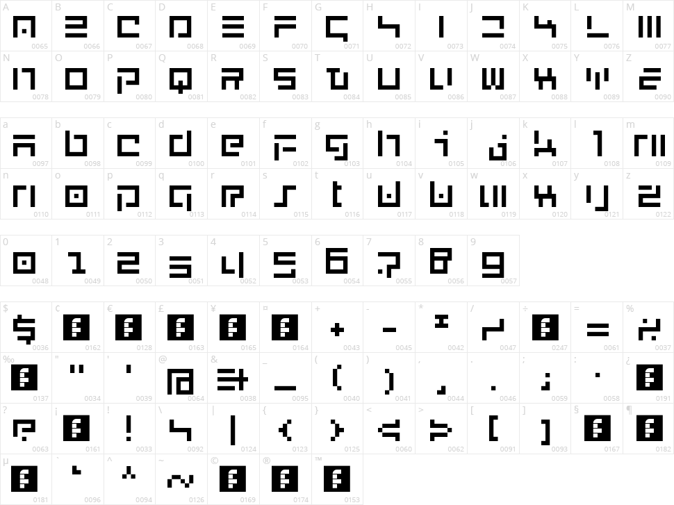 New English Character Map