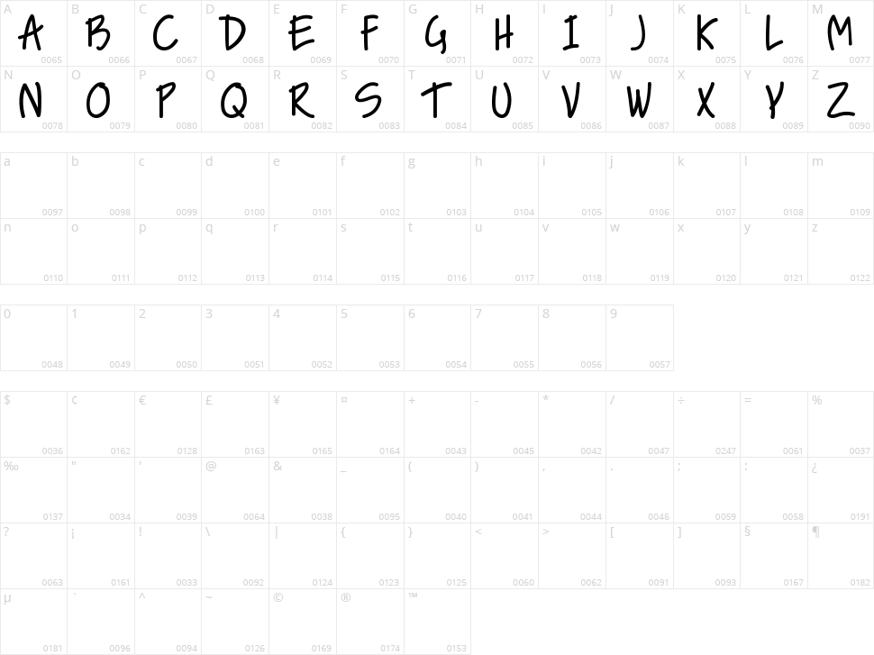 Nice Love The Simple Font Character Map