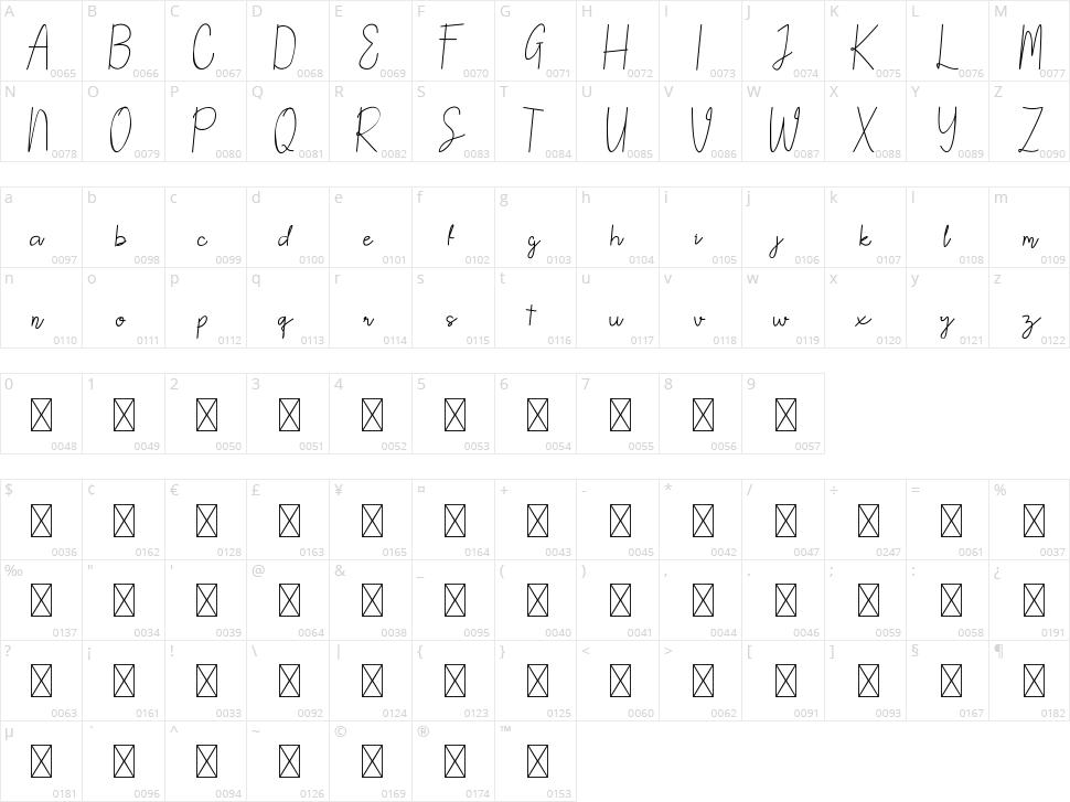 North Mount Script Character Map