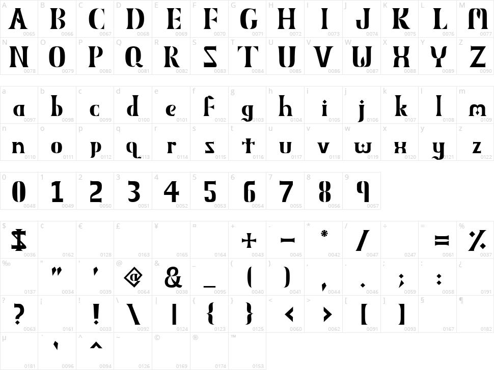Obelisk MXVV Character Map