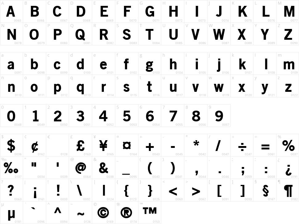 Old Sans Black Character Map