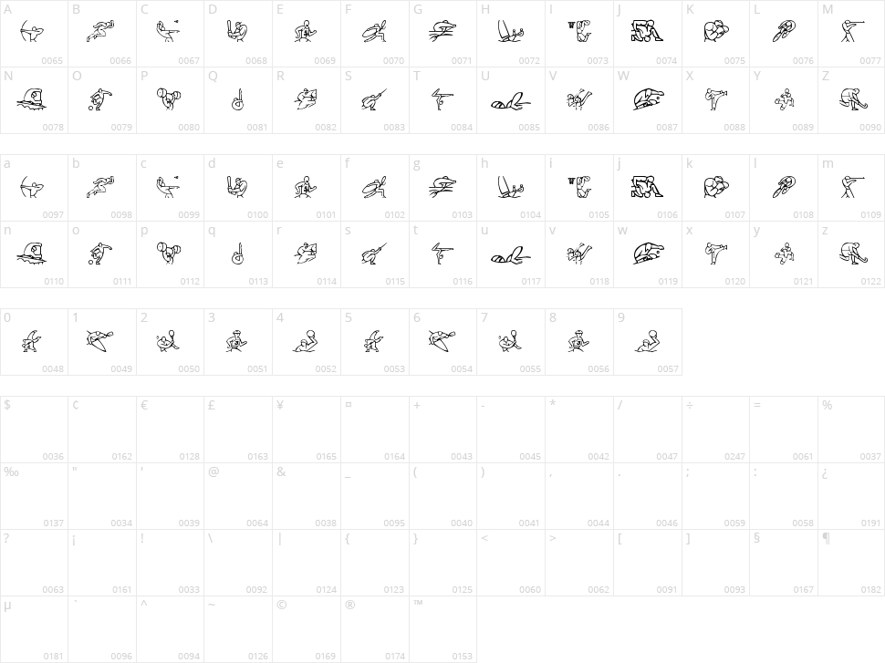 Olimpic Icons 1 Character Map
