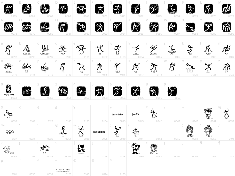 Olympic Beijing Picto Character Map