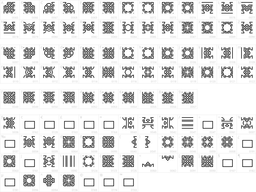 Opattfram01 Character Map