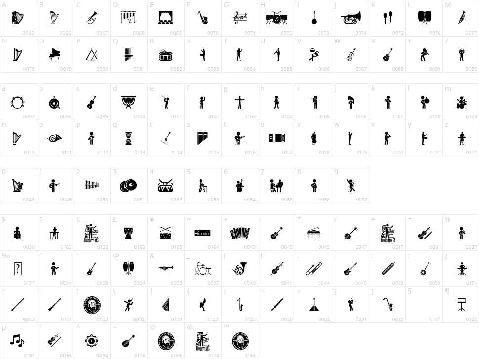 Orchestra Icons Character Map