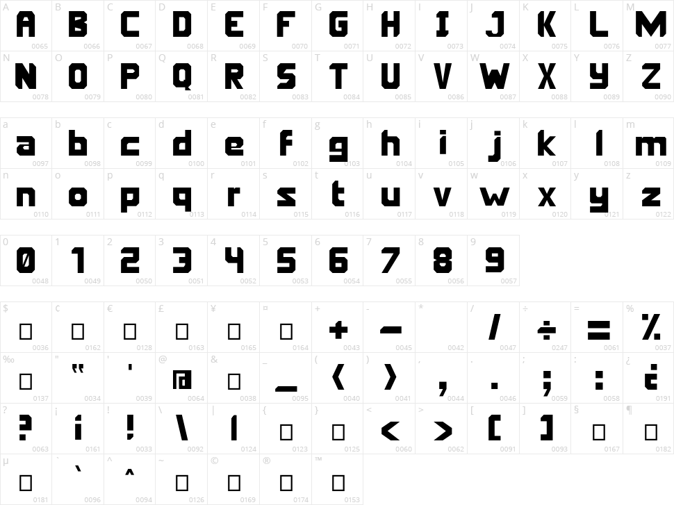 Oriema Character Map