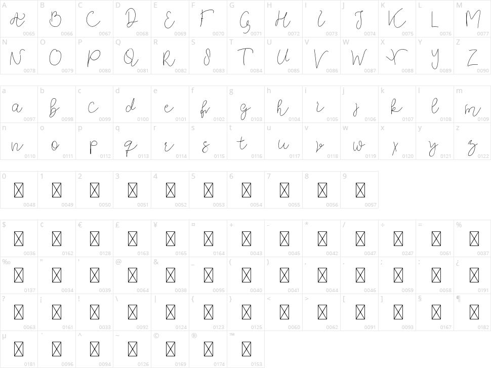Orla Fiola Script Character Map