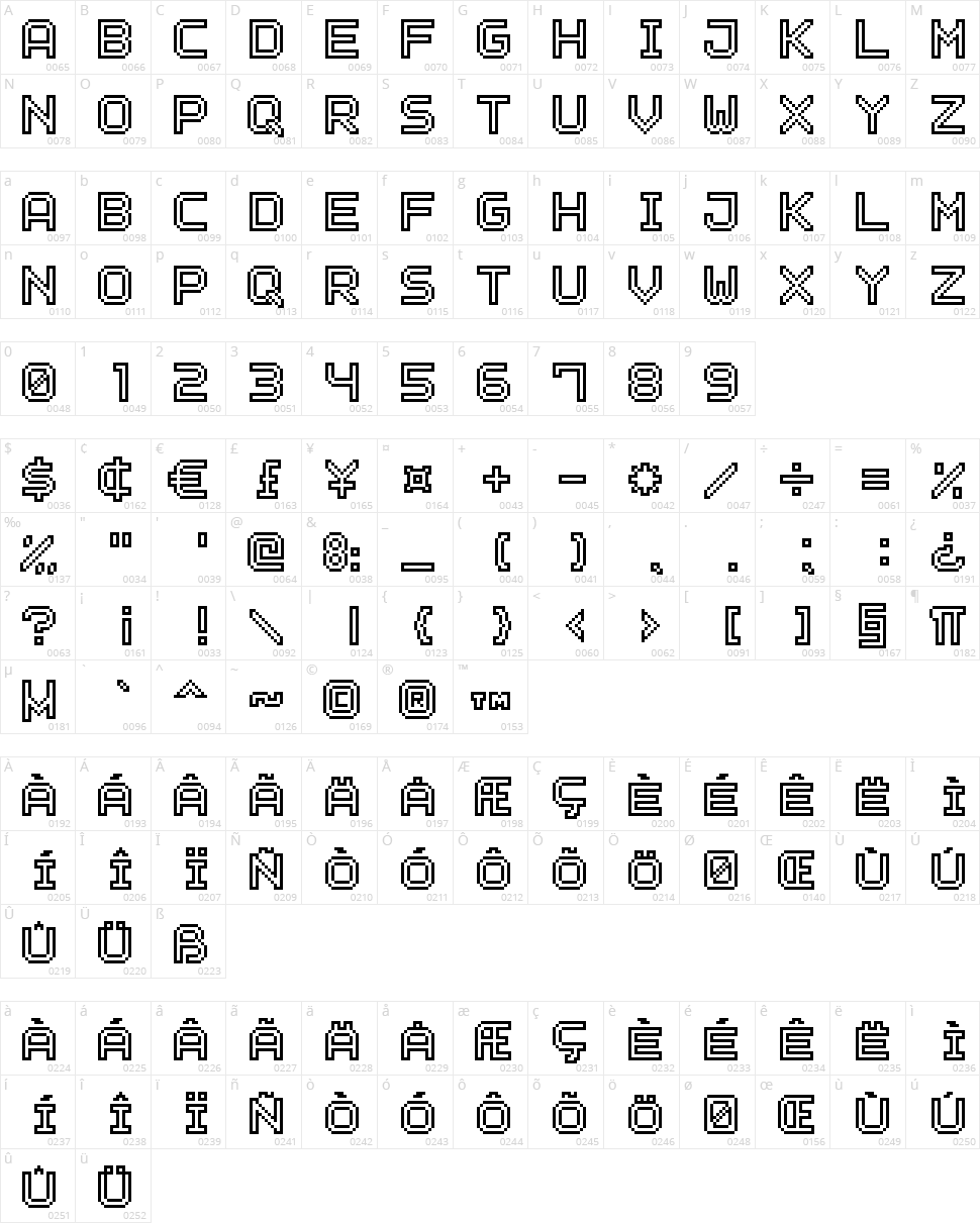 Outline Pixel 7 Character Map