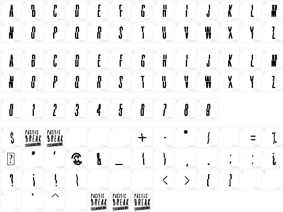 Pacific Break Character Map