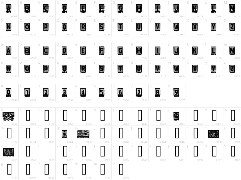 Papel Picado Character Map