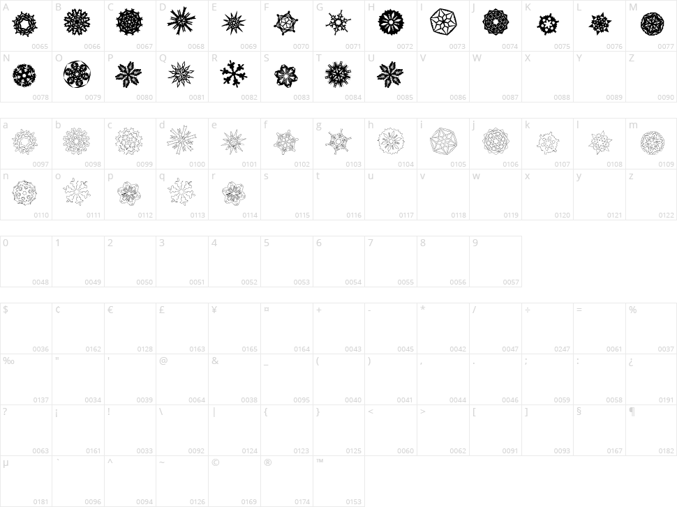 Paper-Snowflakes Character Map