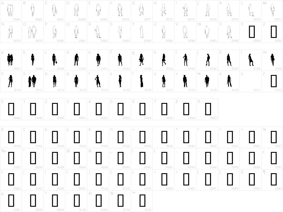Passarela Character Map
