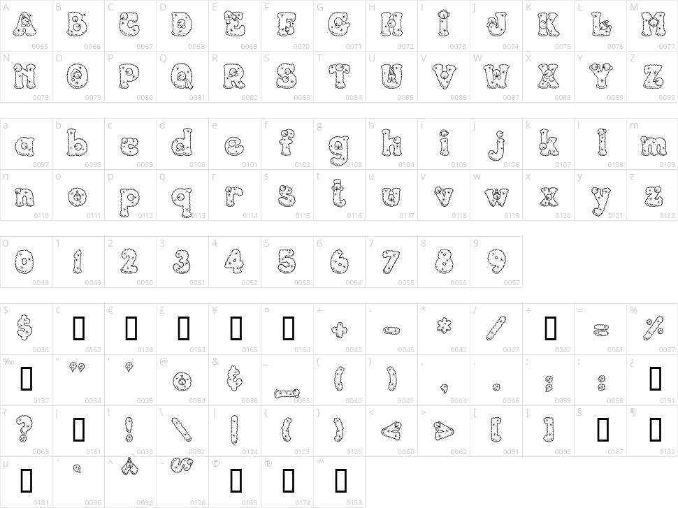 PC Snowballs Character Map
