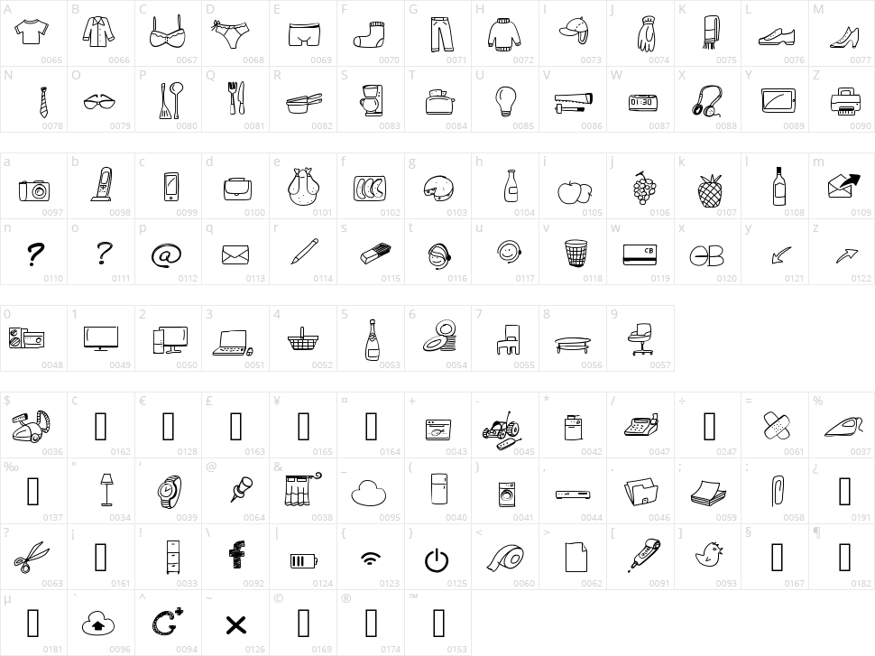 Peax Webdesign Free Icons Character Map