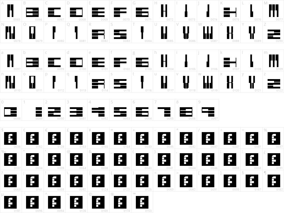 PianoFonte Character Map