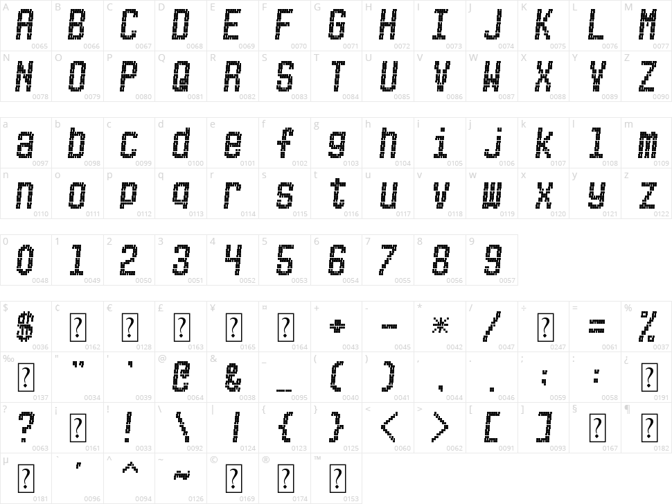 Picksuhl Character Map