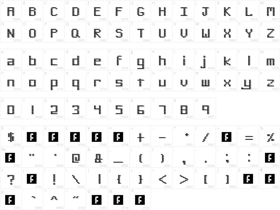Pinstripe Bitmap Character Map