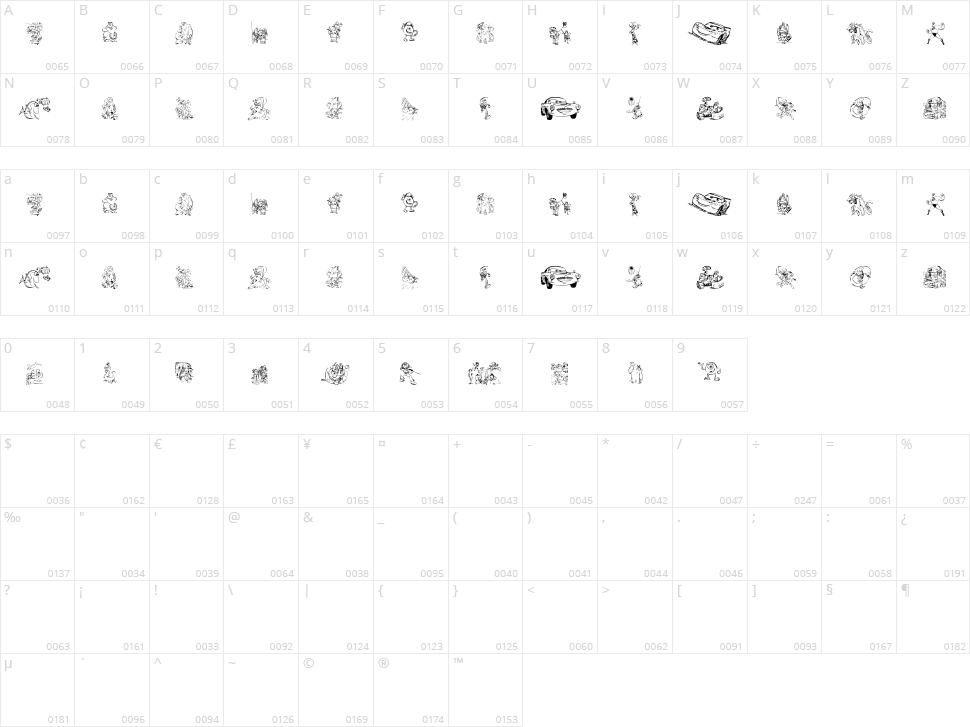 Pixar 1 Character Map