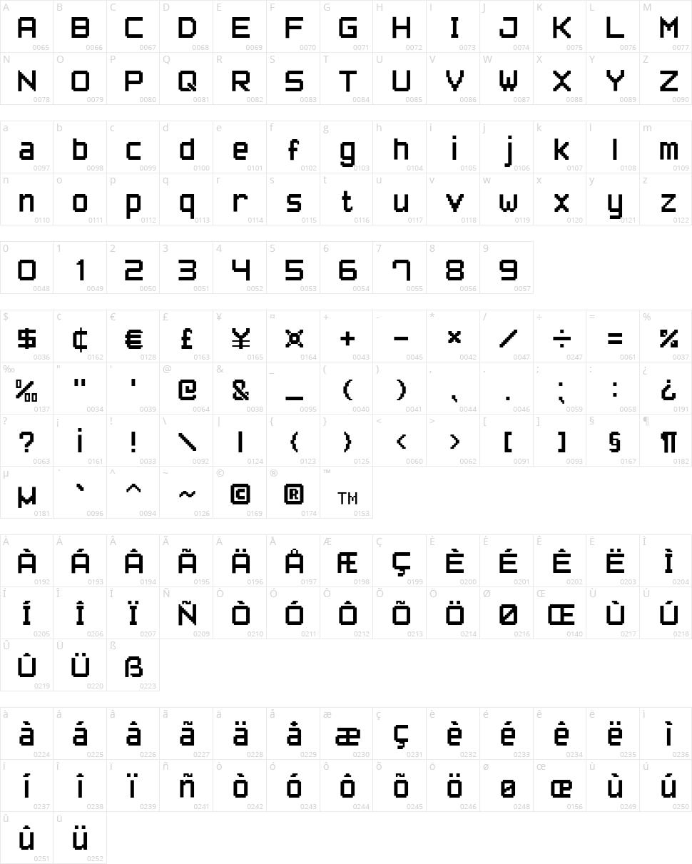 Pixel Font7 Character Map