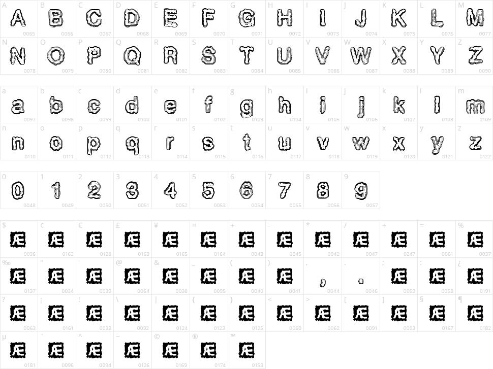 Pixel Krud Character Map