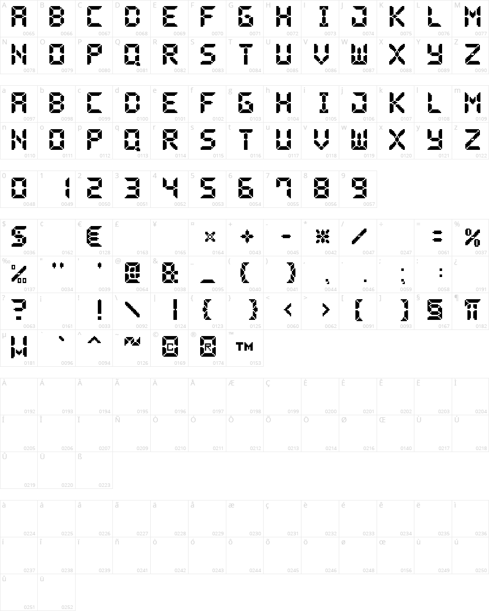 Pixel LCD7 Character Map