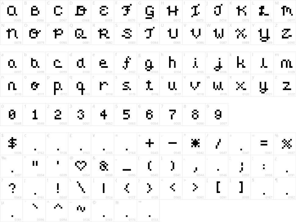 Pixel Love Character Map