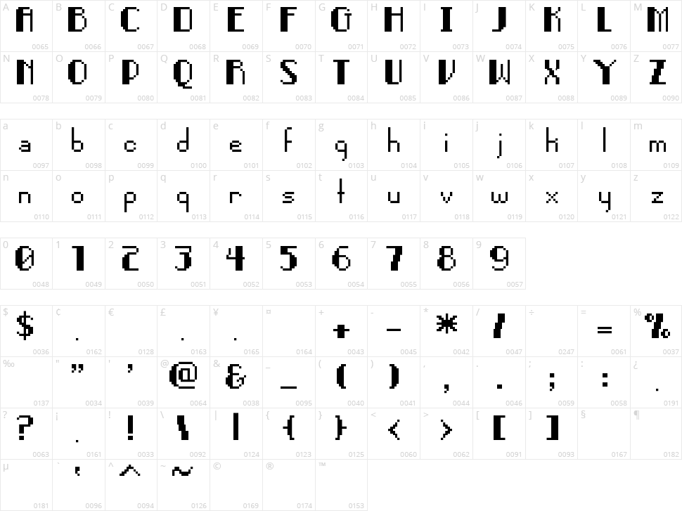Pixel Noir Character Map