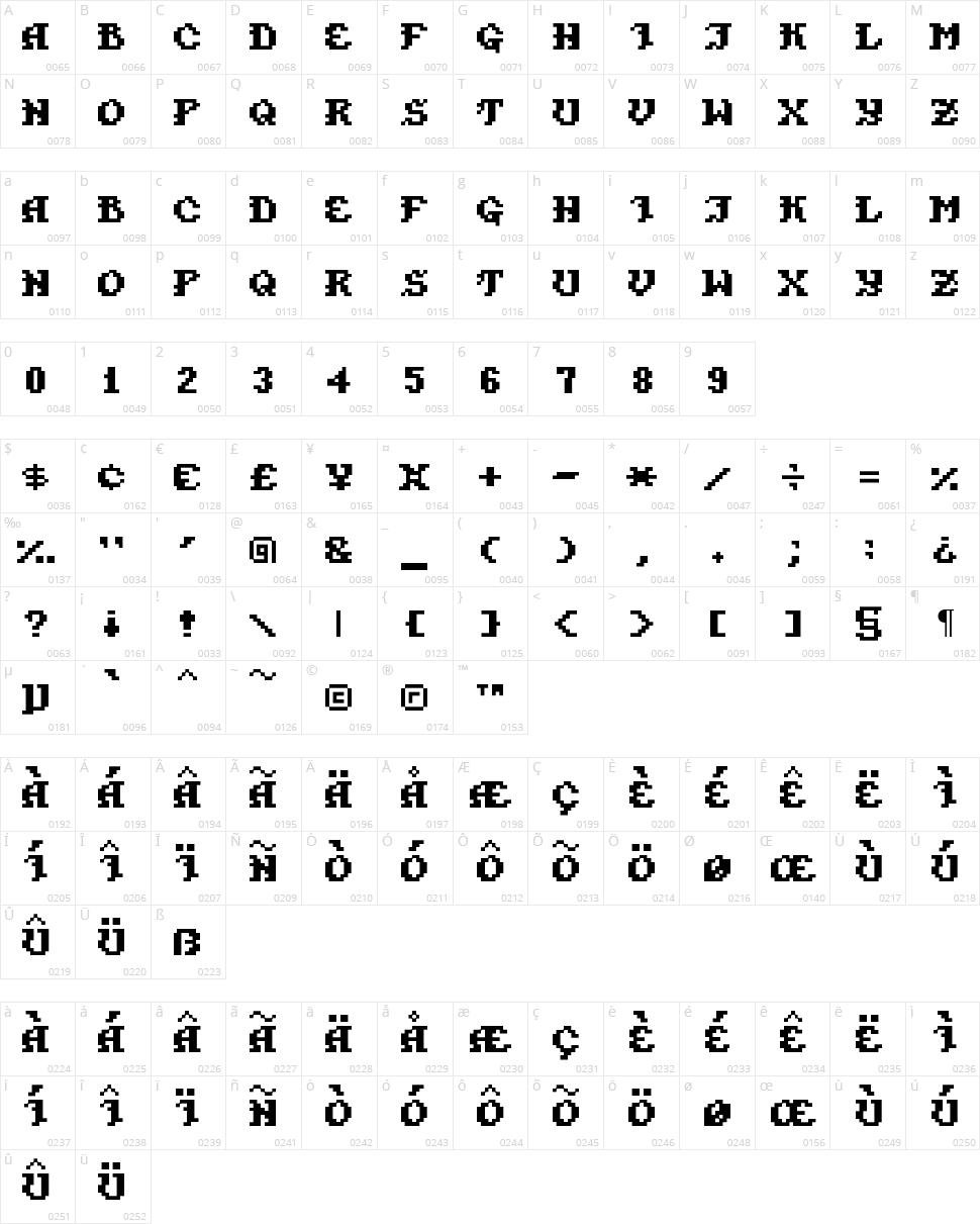 Pixel Takhisis Character Map