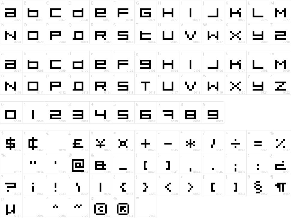 Pixeldust Character Map